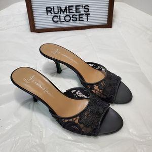 Lisa for Donald J Pliner black lace slip on sandal